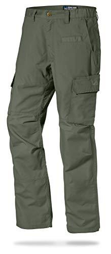 (LA Police Gear Mens Urban Ops Tactical Cargo Pants - Elastic WB - YKK Zipper - OD Green - 46 - Unhemmed)