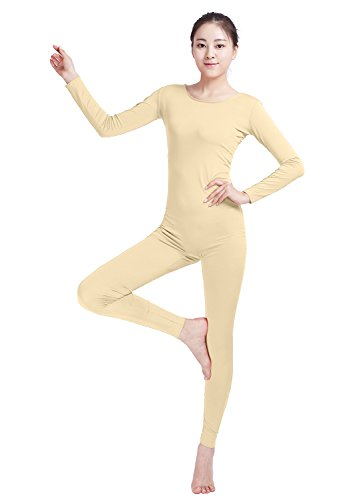 Ensnovo Womens Spandex Bodysuit Long Sleeve Scoop Neckline Footless Unitard Nude, L