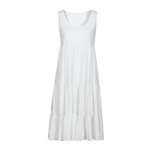 Blanc Robe Femmes Robe Party Holiday Plage Summer Solid de Femme Manches sans HUHU833 UE1qnwY77
