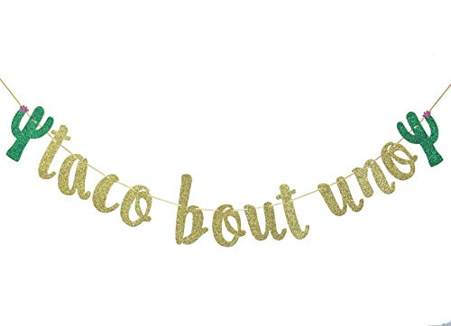 Taco Bout Uno Gold Glitter Banner for Mexican Fiesta Themed Baby First Birthday Party Decorations Backdrop Sign Supplies]()