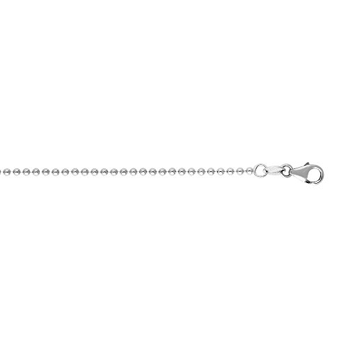 Luxurman 14k White Solid Gold 1.5mm wide Shiny Bead Chain 16