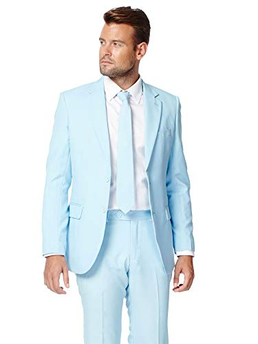 Opposuits Cool Blue Solid Light Blue Suit For Men Coming With Pants, Jacket and Tie, Cool Blue, US40