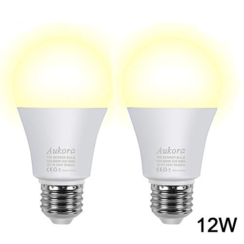 (Motion Sensor Light Bulbs, Aukora 12W (100-Watt Equivalent) E26 Motion Activated Dusk to Dawn Security Light Bulb Outdoor/Indoor for Front Door Porch Garage Basement Hallway Closet(Warm White 2 Pack))