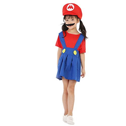 (Women Super Mario Costume Cosplay for Teens Children Kid Mario/Luigi Fancy Outfits Dress Up Party)