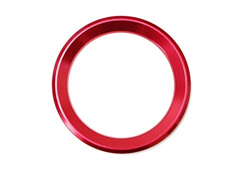 iJDMTOY (1) Sports Red Aluminum Steering Wheel Center Decoration Cover Trim For BMW 1 2 3 4 5 6 Series X4 X5 X6 (F20 F21 F22 F23 F30 F31 F32 F33 F35 F36 F10 F11 F12 F13 F26 F15 F16)