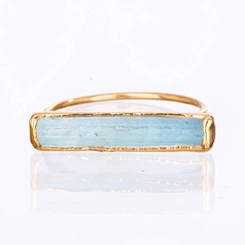Size 6 Raw Aquamarine Ring, Yellow Gold, March Birthstone Jewelry ()