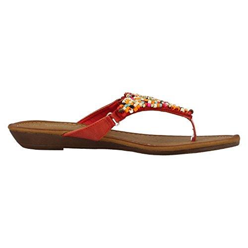 Ladies Savannah Beaded Toe Post Sandals F0887 Red 7zJdGrY