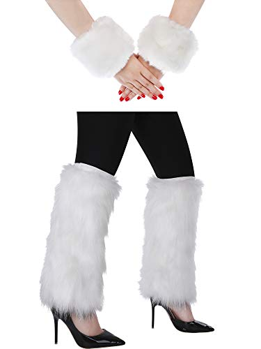 Pangda Women Faux Fur Leg Warmers and Furry Wrist Cuffs Warmer for Winter Costume, 4 Pieces Totally (White) -