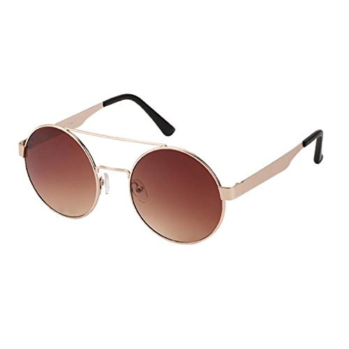 Sonnenbrille Round Glasses 400UV Doppelsteg mit Abstand Metallgestell braun v6dAvK5e6w