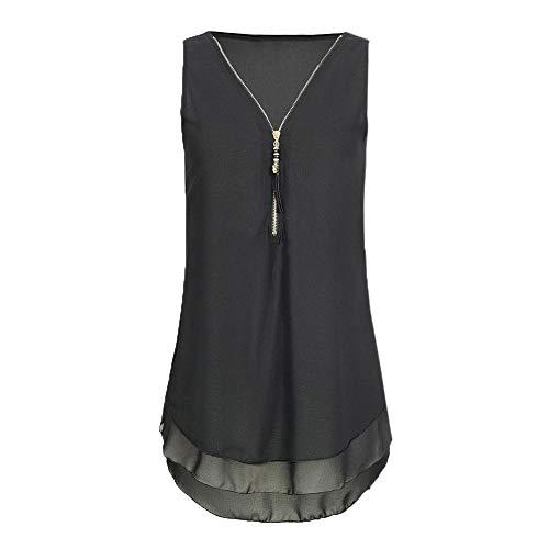 (Womens Loose Chiffon Sleeveless Tank Top V-Neck Zipper Hem Scoop T Shirts Tops(XX-Large,)