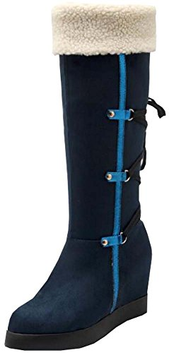 Spring new female snow boots warm thick crust slope with cross straps Gaotong boots flanging