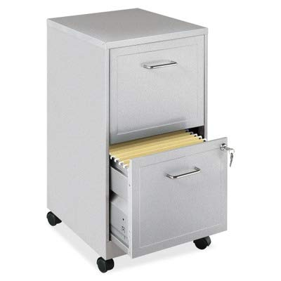 Gray Locking Storage Cabinet - Lorell 16873 2-Drawer Mobile File Cabinet, 18-Inch Depth - Gray