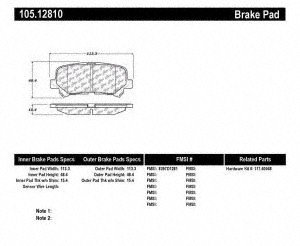 - Centric 105.1281 Posi-Quiet Ceramic Brake Pad with Shims