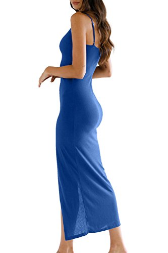 Blue Straps Dress Adjustable Spaghetti Dress Party Down Women's Maxi Button Summer Bodycon Eliacher Sleeveless xBWqOSS