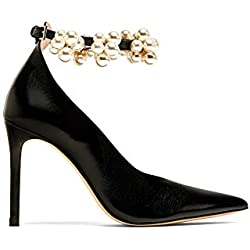 Zara Women High heel court shoes with beaded ankle strap 6230/201 (38 EU | 7.5 US | 5 UK)
