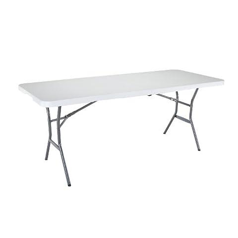 Lifetime 25011 Fold In Half Commercial Table, 6 Feet, White Granite
