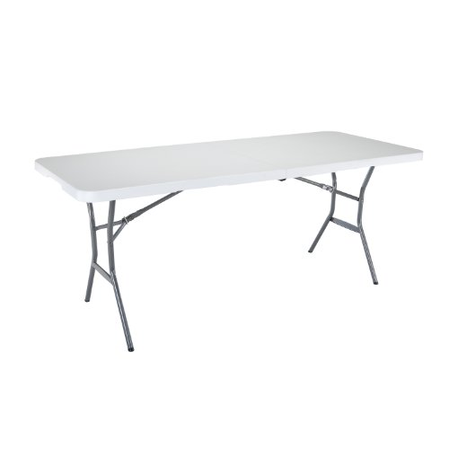 Lifetime 25011 Fold In Half Light Commercial Table, 6 Feet, White Granite