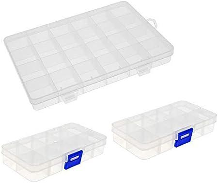 DealMux Box Organizador de contenedores de Almacenamiento Estuche de plástico Transparente, 24 cuadrículas / 10 cuadrículas Componente Rectángulo Joyas Little Things Electronic, 3Pcs: Amazon.es: Hogar