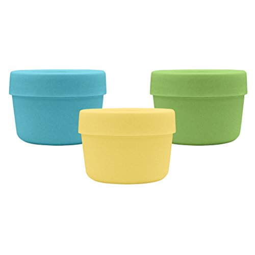 green sprouts Sprout Ware Snack Cups made from Plants, Aqua Set, 3 count