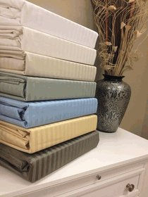 """22"""" SUPER DEEP POCKET WRINKLE FREE STRIPED 650 EGYPTIAN COTTON SHEET SETS = KING SAGE = SOLD BY: HOTEL SUPPLY WAREHOUSE CENTER INC."""
