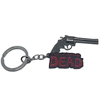 Unique silver pistol key chain in fashion, walking dead extreme pistol key chain