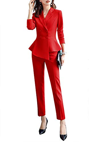 - Women's 2 Pieces Office Blazer Suit Slim Fit Work Suits for Women Blazer Jacket,Pant/Skirt Suits Red