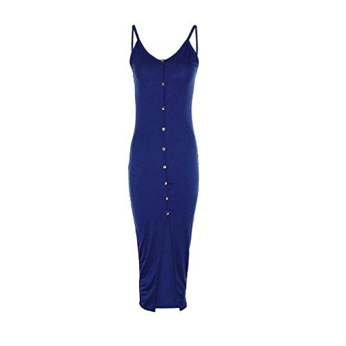 Bouton Femmes en Robe Masterein Spaghetti Sexy Longue Fille Avant Strap Robe V Ouverte bleu col BXpvdWp