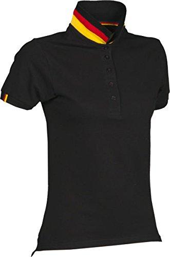 S.B.J - Sportland Damen Poloshirt Deutschland, Schwarz