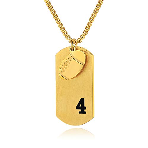 Boy's Football Dog Tag Necklace Stainless Steel Youth Player Number 4 Pendant, Philippians 4:13 Necklaces Religious Style (Gold) ()