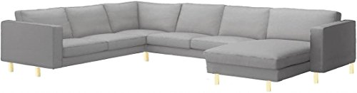 Sofa Cover Only! The Dense Cotton Karlstad Corner Sofa (2+3) With Chaise Lounge Cover Replacement, Is Made for Ikea Karlstad Sectional And Chaise Slipcover (Light Gray) (Karlstad Corner Sofa 2 3 3 2)