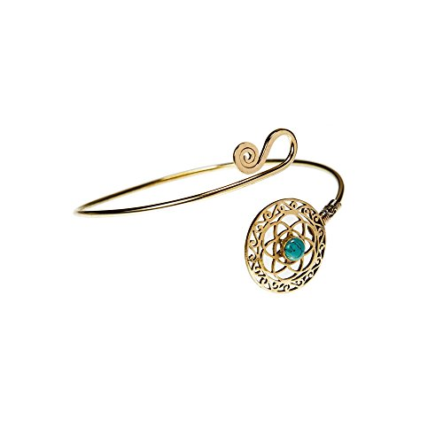 81stgeneration Women's Gold Tone Brass Flower of Life Simulated Turquoise Adjustable Upper Arm -