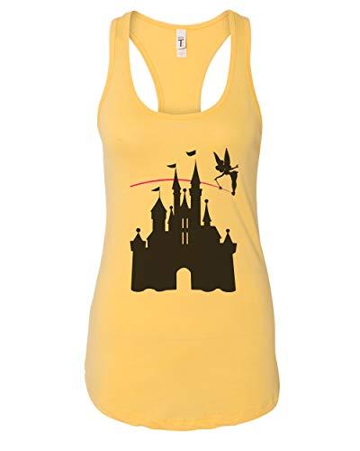 (Women's Disney Castle Tinkerbell Ringspun Cotton Racerback Tank Top, Banana Crème, Large)