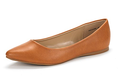 DREAM PAIRS Sole Classic Women's Casual Pointed Toe Ballet Comfort Soft Slip On Flats Shoes TAN PU Size 10