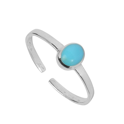 KEZEF Creations High Polished Sterling Silver Reconstituted Turquoise Oval Cabachon Toe Ring (Ring Toe Stylish)