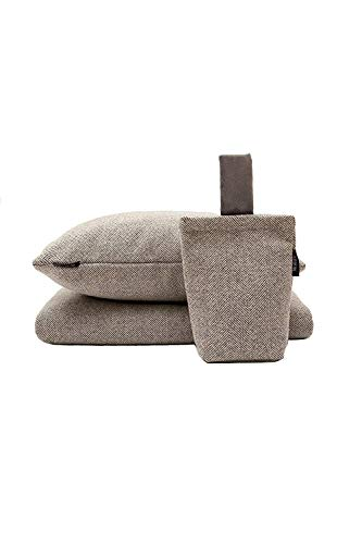 McAlister Textiles Herringbone Filled Pillow Charcoal Grey Decorative Soft Brushed Textured Throw Scatter Sofa Cushion Size – 24 x 16 Inches
