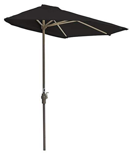 Blue Star Group Off-The-Wall Brella Sunbrella Half Umbrella, 7.5′-Width, Black