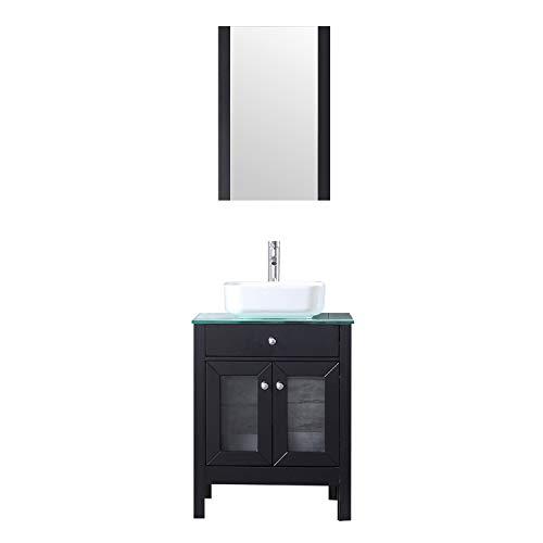 BATHJOY 24'' Modern Wood Bathroom Vanity Cabinet Square Ceramic Vessel Sink Faucet Drain Combo Design with Mirror