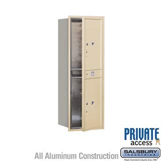 Salsbury 3713S-2PSFP 48 in. Recessed Mounted 4C Horizontal Mailbox - 13 Door High Unit - Single Column - Stand-Alone Parcel Locker - 2 PL6s - Sandstone - Front Loading - ()