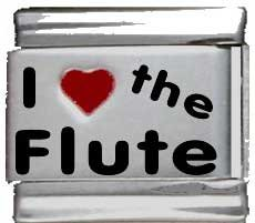 I Heart the Flute Red Heart Laser Italian Charm (Flute Charm Italian)