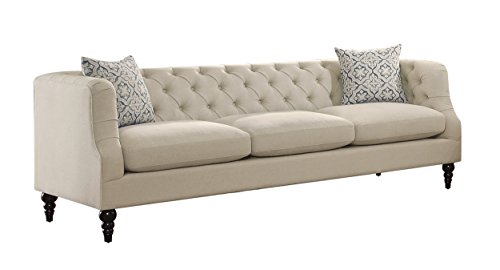 Homelegance Radley Button Tufted Sofa with Contour Arms and Two Throw Pillows, Beige