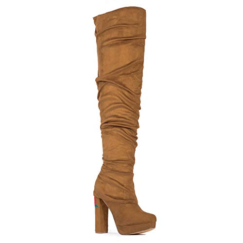 High Zipper Comfy Over Camel Rf Su flower The Knee Boots Fashion Women Room Of Block Heel Vegan Thigh Side Suede wwF47gqv