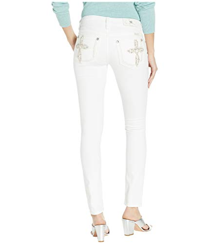 Cross Embellished - Miss Me Women's Cross Embellished Hailey Skinny Jeans in White White 28 30