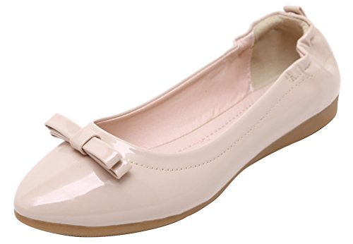 CFP 819-1 Womens Bowtie Flat Slip On Convenient Simple Slide Slippers Pointed Toe Antislipping Ventilative Soft Creative Loafers Lissom Pliable Concise Street Shoes Pink M US 5 X2oa6z