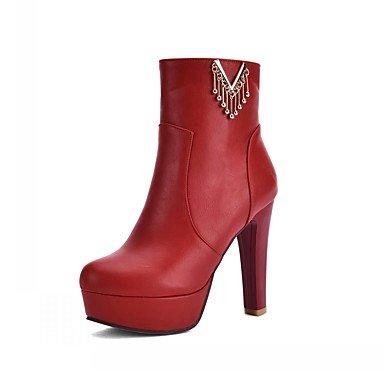 RTRY Zapatos De Mujer De Piel Sintética Pu Novedad Moda Otoño Invierno Confort Botas Botas Chunky Talón Puntera Redonda Botines/Botines De Cremallera Parte &Amp; US9 / EU40 / UK7 / CN41