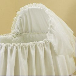 Babykidsbargains Sheer Elegance Organza Bassinet Short Liner Skirt and Hood, 16