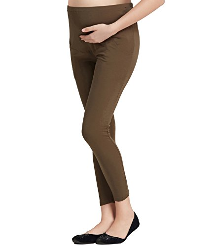 Liang Rou Maternity Belly Support Mini-Ribbed Stretch Full Length Leggings Olive Green