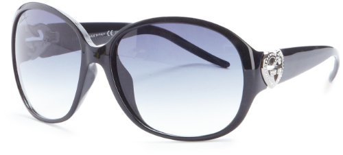 Gucci Women's 3530/F/S Round Sunglasses,Shiny Black Frame/Grey Gradient Lens,One - Gucci Butterfly Sunglasses With