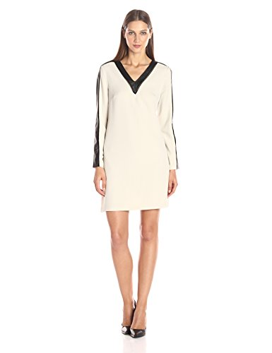 Julia Jordan Women's Long Sleeve Vegan Leather Insets Shift Dress With Pockets, Neutral/Black, 12 by Julia Jordan