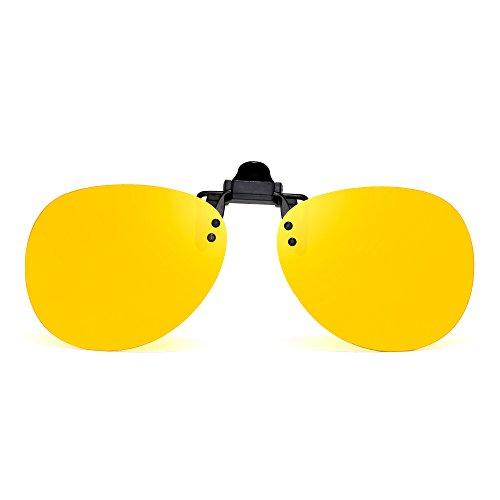 Anteojos Clip Gafas Polarizadas Lentes Hombre de Flip Sin Marco Retro Polarizado en up de Amarillo Aviador Sol UwWqCqpFd