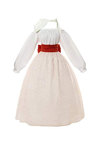 ROLECOS Pioneer Woman Costume Prairie Colonial Civil War Dress Victorian Floral Skirt and Blouse Set Red Flower S/M